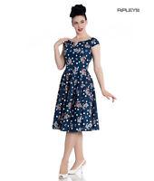 Hell Bunny 50s Nautical Blue Dress SALINA Oceana Pin Up Rockabilly All Sizes