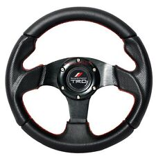 280mm JDM 6-Bolt Steering Wheel Black PVC Leather Red Stitching Racing TRD