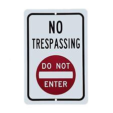 "Warning Danger DO not ENTER NO TRESPASSING 12"" x 8"" Aluminum Sign made in USA"
