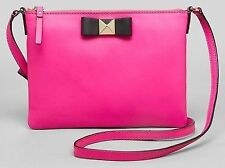 Kate Spade Ginnie Bow Terrace Vivid Snapdragon Black Crossbody Bag NWT Pink