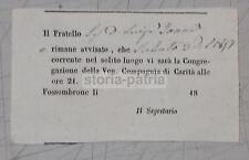 MARCHE_FOSSOMBRONE_ANTICA CONGREGAZIONE_COMPAGNIA DI CARITA'_CONVOCAZIONE_'800