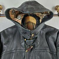 Rare VTG BURBERRYS England Size Large Mens Leather Hooded Toggle Duffle Coat
