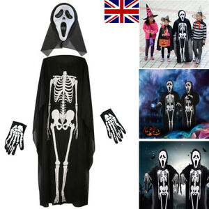 Halloween Party Costume Scary Skeleton Ghost Cloak Scream Mask Gloves Adult Kids