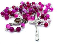 Pink Matte Beads Rosary Necklace Round Beaded Chaplet Holy Soil Medal & Cross