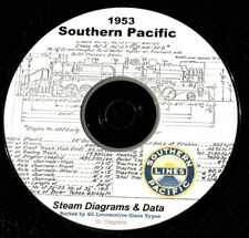 Southern Pacific 1953 Steam Locomotive Diagrams & Data by Class  PDF Pages  DVD