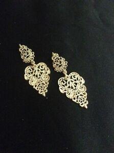 Vintage Style Gold Dangly Intricate Chandelier Earrings. Gold Dangly Earrings