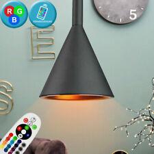 RGB LED Lámpara Colgante Regulador Control Remoto Aluminio Cubrir Péndulo Negro