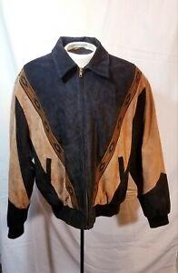Vintage Scully Men's Western Aztec Black Suede Leather Jacket Size XLarge XL