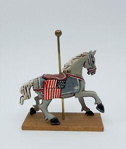 Vintage Carol Powell Carousel Horse With American Flag Artisan Miniature
