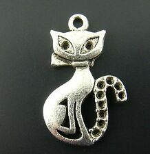5 Tibetan Silver Cat Pendant Charms 16mm