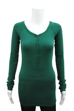Womens P.C T-Shirt Top Button Up Long Sleeve Ribbed LYCRA Green Plus Size 6 - 18