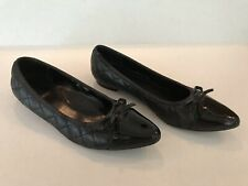 VANELI BLACK QUILTED BALLET FLATS POINTED PATENT LEATHER TIP & BOW SIZE 9 1/2 M