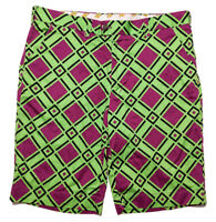 LoudMouth Golf Shorts Purple Green Squares Checks Size 38