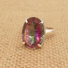 Mystic Topaz Quartz 925 Silver Ring Size R 1/2-US 9 Indian Jewellery