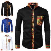 Men's African Printed Long Sleeve Dashiki Shirt Collarless Tops Blouse T Shirts