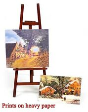 "Miniature NATURAL (stained) WOOD Artist EASEL with 2 Paintings 5"" x 2"" Dollhouse"