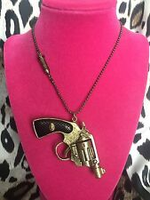Betsey Johnson Vintage LARGE Bronze Gun Pistol Revolver BANG BANG Long Necklace