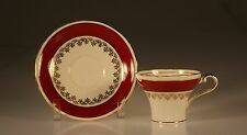 Aynsley Deep Red Banded Corset Shaped Cup and Saucer Made In England c. 1950