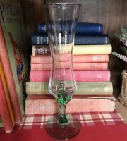 Vintage Italian Hand Blown Clear Art Glass Green Bubble Stem Footed Vase Cottage