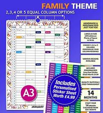 A3 Personalised Family Calendar Organiser 2 3 4 5 Column / People 2018 2019 2020