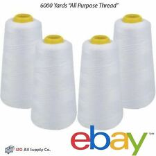 4 Pck 6000 Yards Quality Overlocking Sewing Machine Polyester Thread Cones White