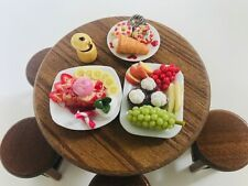 Mix Dessert Fruit Miniature Dollhouse on Mini Table wood set Deco Food Bakery