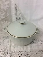 Brilliant White Lidded Tureen With Gilded Border