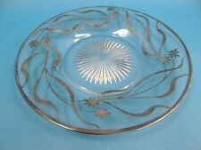 Vintage Used Heisey Clear Glass Silver Lined Decorative Floral Serving Plate