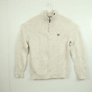 Ralph Lauren Chaps Mens Knit Sweater Size S White 1/4 Zip Mock Neck Jumper