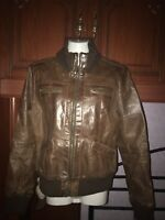 Ladies Vila Brown Leather Bomber Jacket Size Large