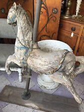 Antique Vintage  Solid Wood Carved Carousel Horse Folk Art Statue