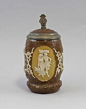 Céramique chope à bière Panolith Mettlach 19. siècle Couvercle étain