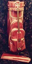 *Vintage Titleist Leather Vinyl Golf Cart Carry Bag with Rain Cover Mancave Golf