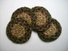 "Homespice Decor RUSSET Braided Jute 4"" Coasters Set of 4, Black, Russet Red"