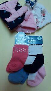 Infant 0-6 Months 3pc Hat Set & 4pc Socks GERBER Brand #PKBK