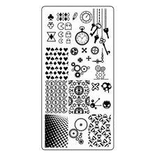 Zeit Stamping Schablone Schlüssel Zahnräder Steampunk Nailart Stempelplatte
