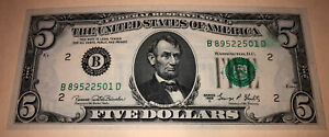 1969 $5 Bill Ink Smear Seal Off Center Uncirculated free ship free hard case