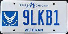 "MICHIGAN "" US AIR FORCE VETERAN "" MI Military Specialty License Plate"