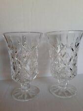 Vintage Crystal Short Stem Wine Water Glasses pair  Leaded Crystal