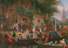 """oil painting handpainted on canvas """"Canal-boat in front of the tavern """"@N8324"""