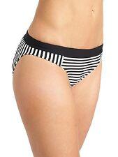 NWT Athleta Montauk Stripe Bottom Bikini Bottom, Black (Black/White), sz S