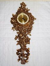 Vintage Syroco Gold Gilded Carved Wood Wall Clock 8 Day Jewelled USA W/ KEY