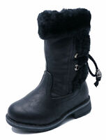 GIRLS KIDS CHILDRENS BLACK WARM FLEECE LINED CALF WINTER BOOTS SHOES SIZES 5-8