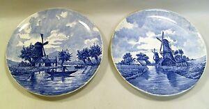 ~ Ea.1900's MAASTRICHT Holland Pair Blue & White Wall Plates Dutch Windmills