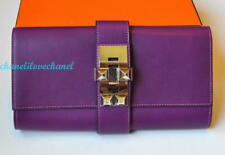 AUTH HERMES MEDOR CLUTCH 23 VIOLET BOX LEATHER PHW,RARE