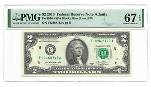 2013 $2 ATLANTA FRN, PMG SUPERB GEM UNCIRCULATED 67 EPQ BANKNOTE