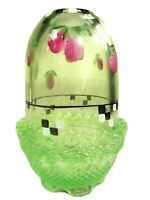 """Fenton Glass Key Lime Green Handpainted """"Plums"""" Fairy Light, new in box"""