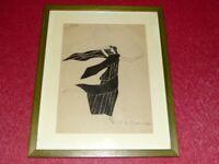 ART DECO  DAFNE SUPERBE DESSIN ORIGINAL SIGNE P. DE MADARIAGA Encre Chine ca1930