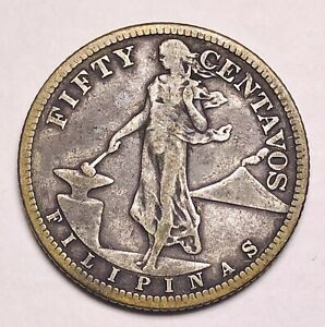 Antique United States 1907 Fifty Cents Philippines Silver Coin