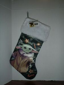 Baby Yoda White Christmas Stocking 18-Inch length with a Fuzzy Cuff New Tags